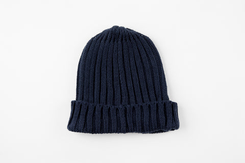 Navy Acrylic Ribbed Hat - Vice Versa Hats
