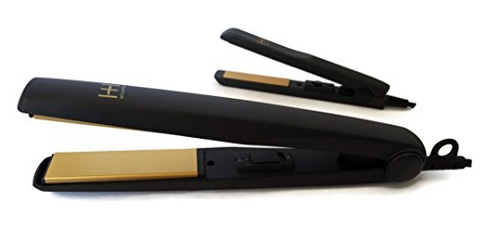 "Hot N Hotter Gold Ceramic Hair Flat Iron 1"" & 1/2"" 2 In 1 Value Pack"