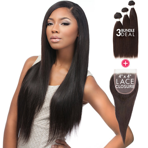 Sensationnel Bare & Natural Virgin Hair -  Lace Closure Bundle Deal (Straight)