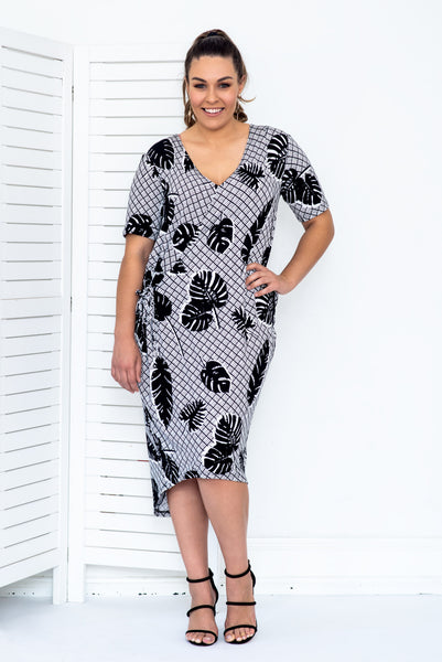 AIESHA DRESS- Palm print ONLY 2 LEFT