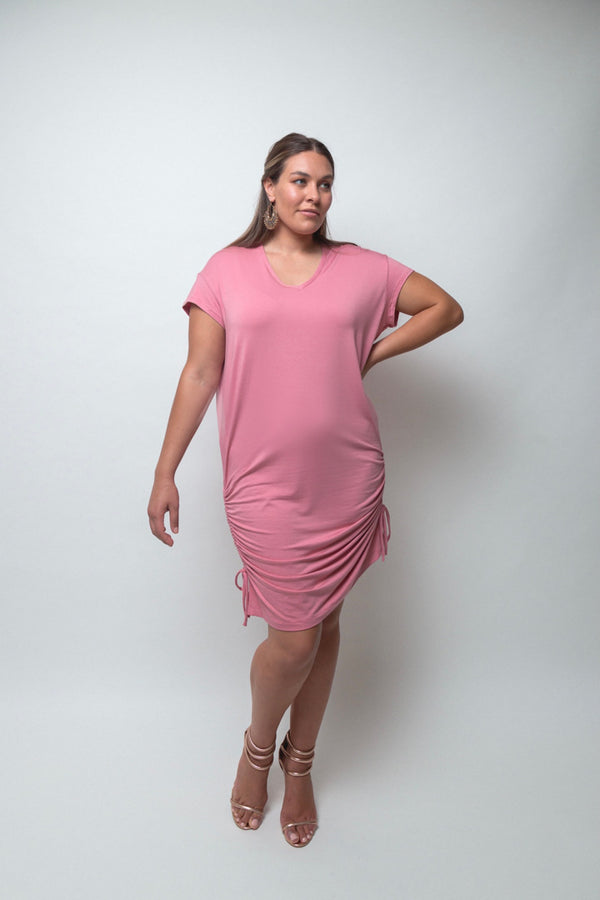 Evissa T-shirt Dress-Blush Pink