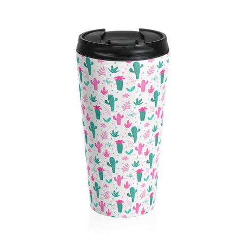 Pink Cactus Stainless Steel Travel Mug