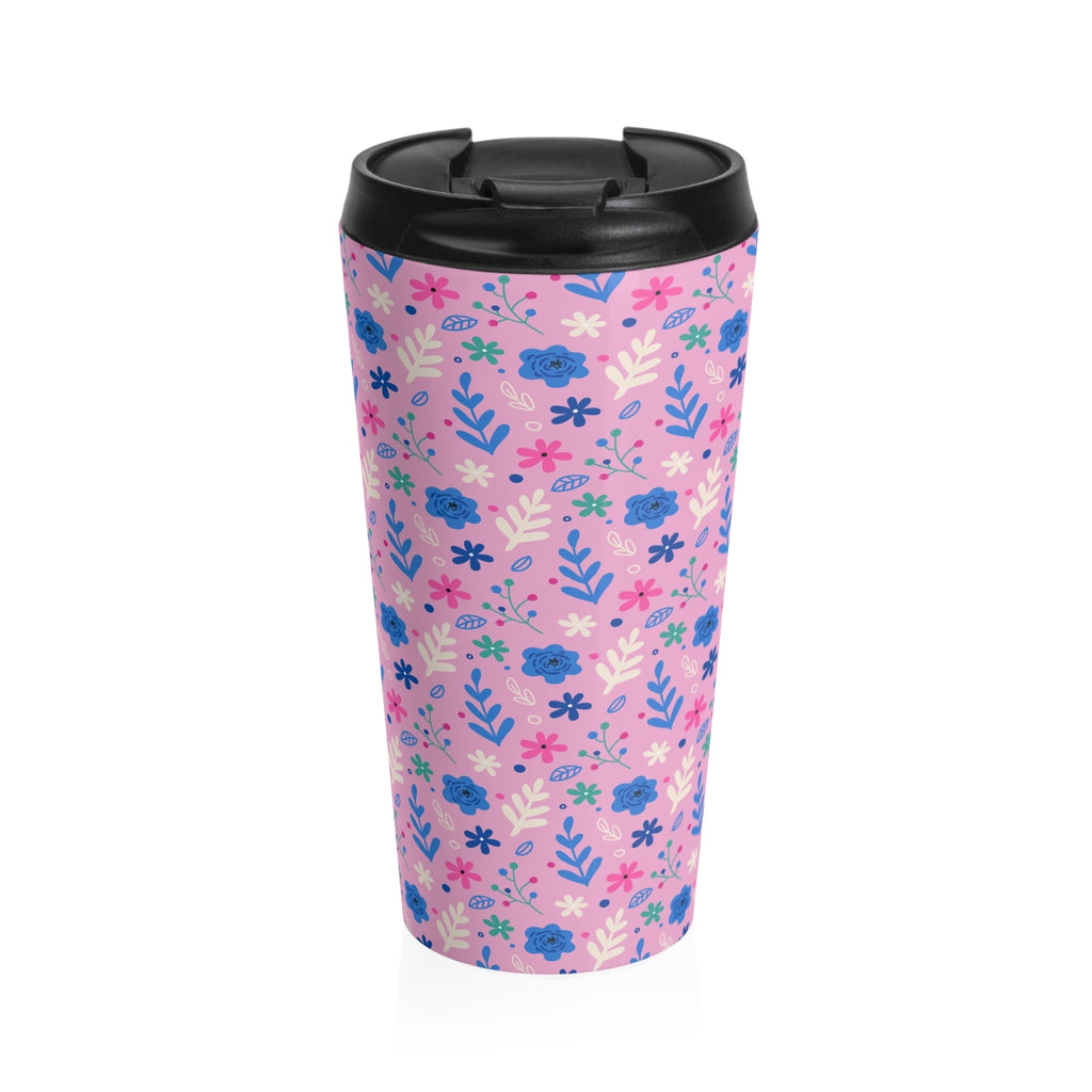 Pink Leaves Stainless Steel Travel Mug