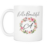 Hello Beautiful Monogram Coffee Mug