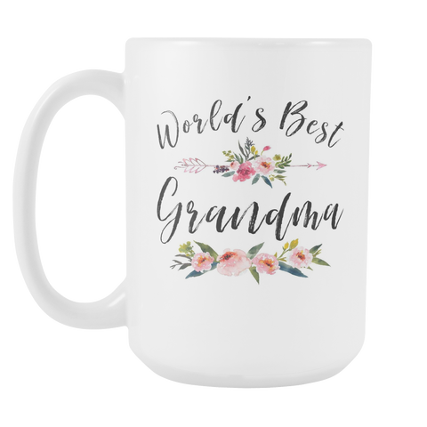 Worlds Best Grandma Arrow 15oz White Ceramic Coffee Mug