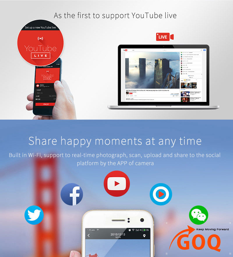 Goq Pano360 Vr Camera Panoramic Video Dual Lens Cam For Android Phone