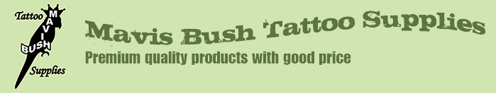 Mavis Bush Tattoo Supplies Logo and Slogan