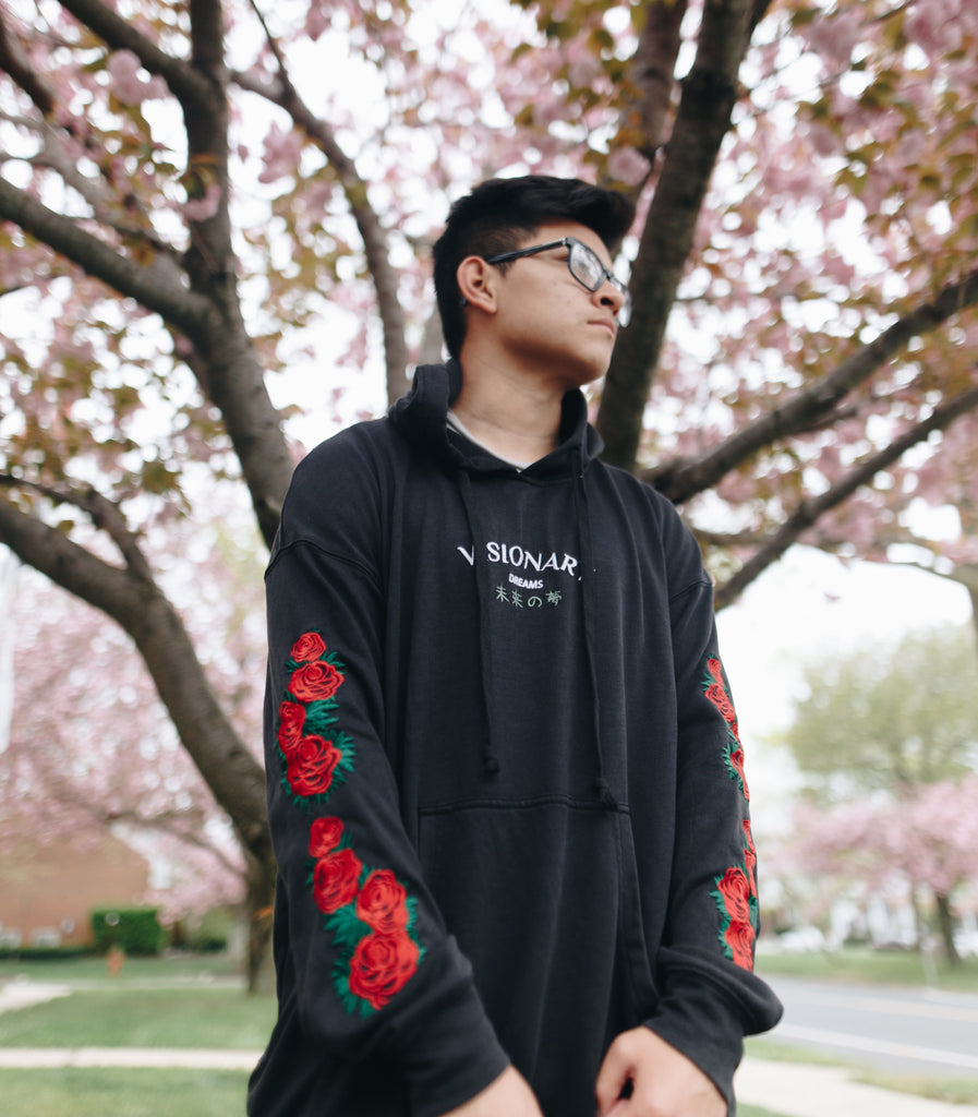 Embroidered Diagonal Rose Hoodie
