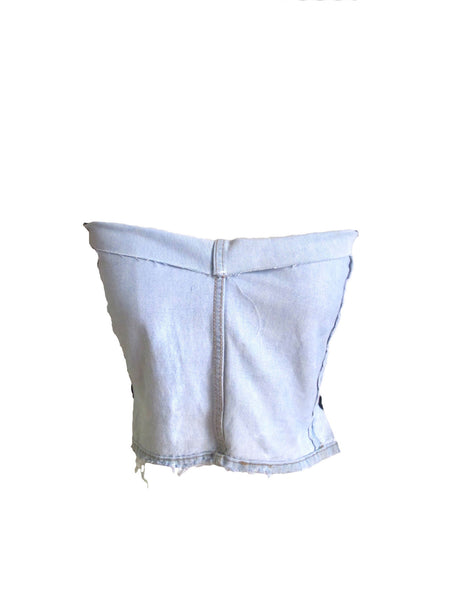 Denim Front Stretch Jersey Back Tube Top
