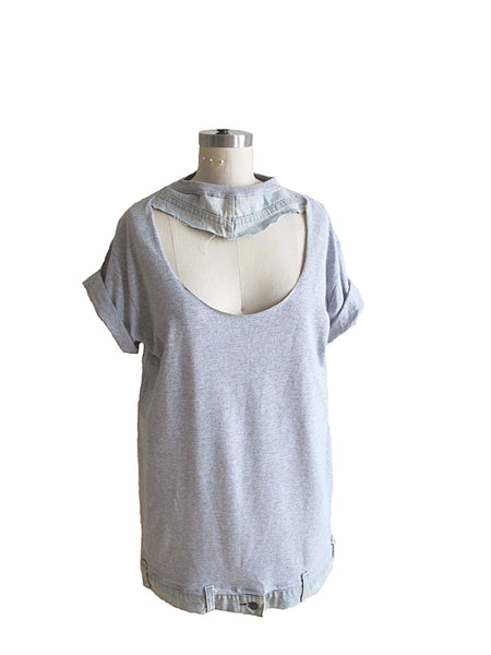 Short Sleeve Gray T-Shirt With Denim Choker and Denim Hem