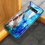 Luxury Artistic Marble Glass Case for Galaxy S10/ S10 Plus