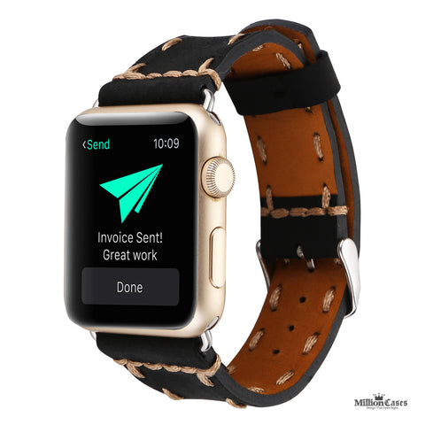 Retro Classic Trendy Genuine Leather Loop Watchband for Apple Watch