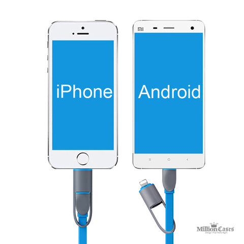 2 in 1 Micro Data Sync USB Charging Cable for Apple iPhone and Android