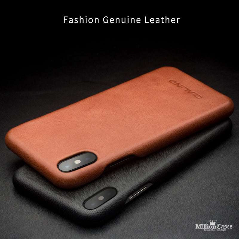 free shipping 4e573 74be4 Luxury Genuine Leather Ultra Slim High Quality Case for iPhone X