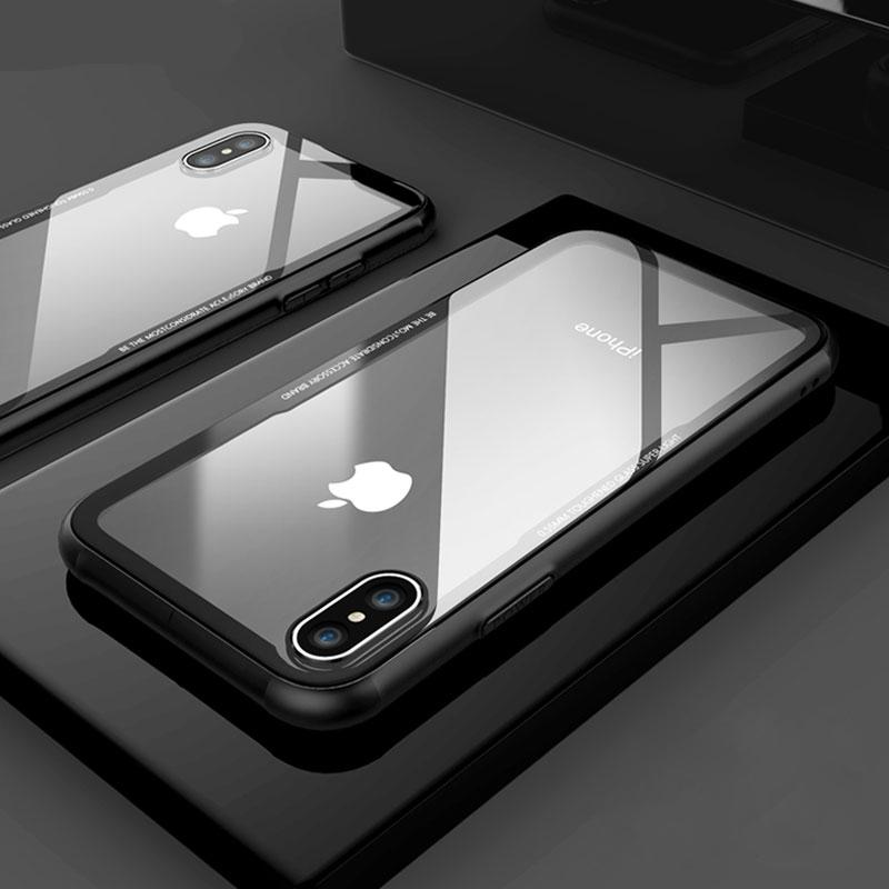 Luxury Transparent Glass+TPU Case for iPhone X