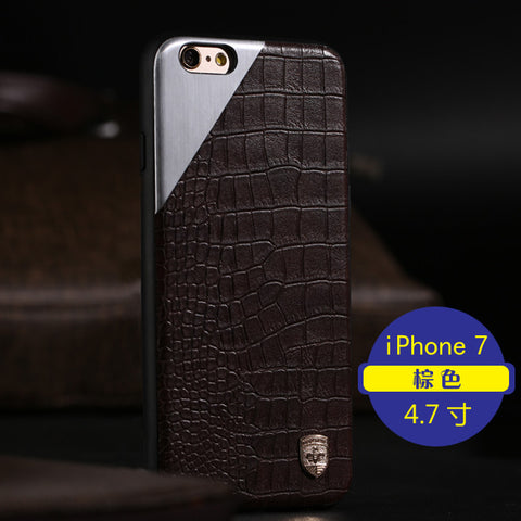 Apple iPhone 7, 7 Leather Metal Magnetic Case