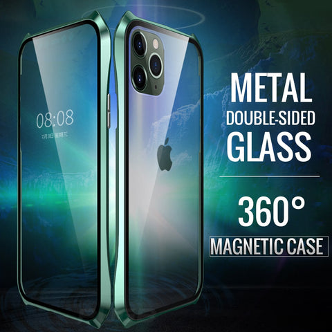 Dual Glass Aluminum Metal Magnetic Bumper Case for iPhone 11 Series