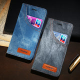 Original Apple iPhone 7 Leather Denim Jeans Cloth Retro Phone Case