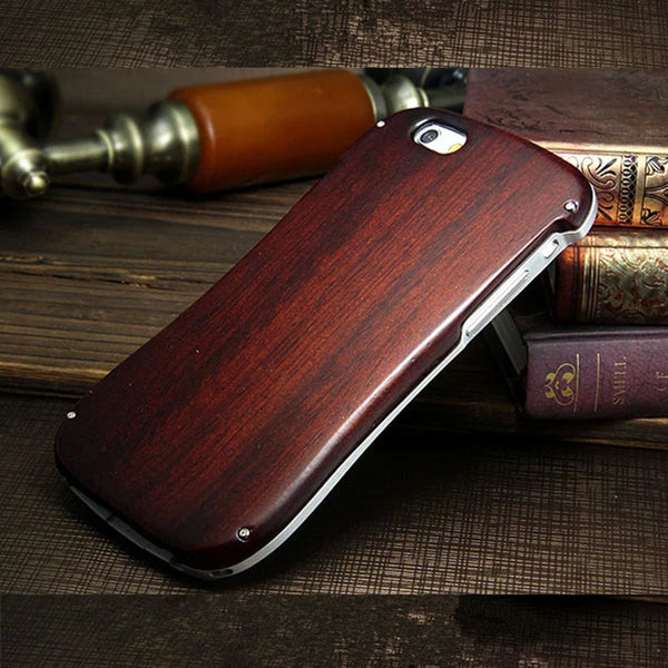 iPhone 5/5S, 6/6S Neo Hybrid Aluminium Metal Frame Wooden Back Case