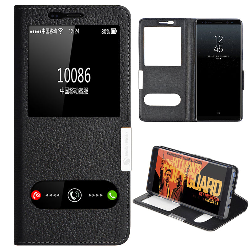 best service 7ed73 ba9e1 Genuine Leather Flip View Window Cover for Galaxy Note 8