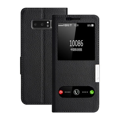 Genuine Leather Flip View Window Cover for Galaxy Note 8