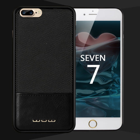 iPhone 7, 7 Plus Cloth Texture Leather Coated Hard Phone Cover Case