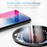 Baseus 10W Qi Glass Panel Wireless Charger For iPhone/ Samsung