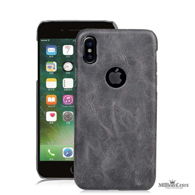 Leather Retro Protective Back Cover for Apple iPhone X