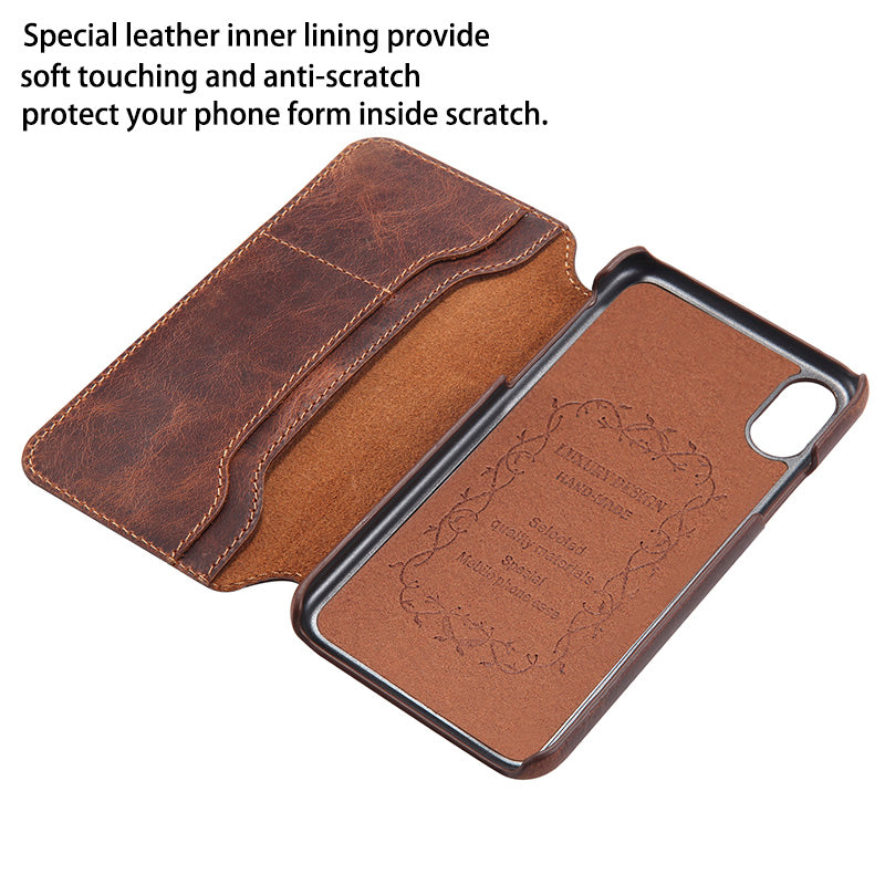 sports shoes 41aa1 813ca Luxury Business Style Genuine Leather Flip Case for iPhone X