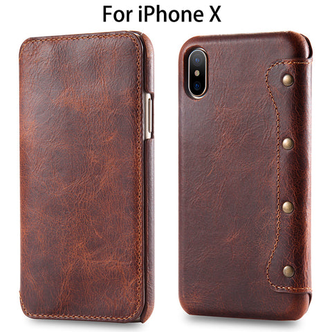 Luxury Business Style Genuine Leather Flip Case for iPhone X