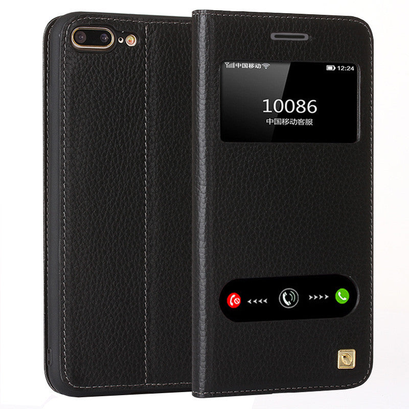 separation shoes 649f8 de565 Luxury Genuine Leather iPhone 7, 7 Plus Cover Case with Smart View Window  Offer Screen Protector