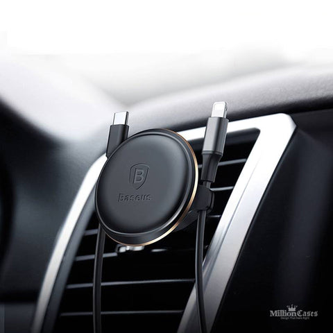 Magnetic Air Vent Car Mount Holder with Cable Clip for iPhone, Samsung