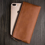 Luxury Handmade Genuine Leather Wallet Holster Case for iPhone 7, iPhone 7 Plus