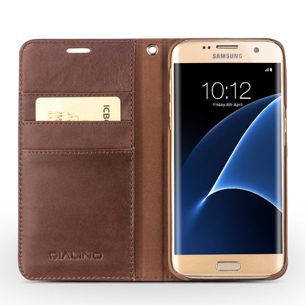 Samsung Galaxy S7, S7 Edge Genuine Leather Business Flip Pure Handmade Case