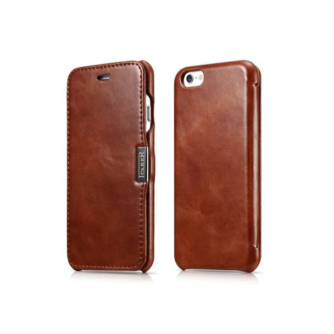 Retro Luxury Genuine Leather Metal Logo Magnetic Flip Case for iPhone 7 & 7 Plus
