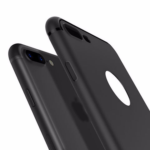 iPhone 7, 7 Plus Slim Silicone Candy Colors Black Shell Soft PP Matte Case Cover