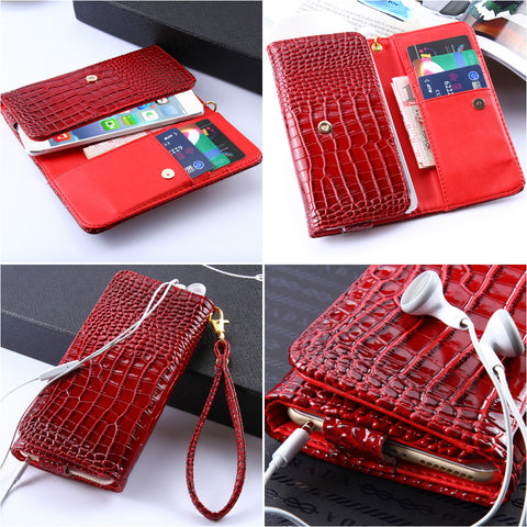 Crocodile Skin iPhone 6/6S, 7 Leather Wallet Case