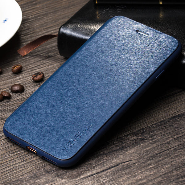 Business Style PU Luxury Leather Flip Phone Case for Apple iPhone 7, 7 Plus