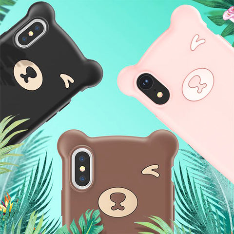 Baseus Cute Bear Design Silicone Phone Case for iPhone X