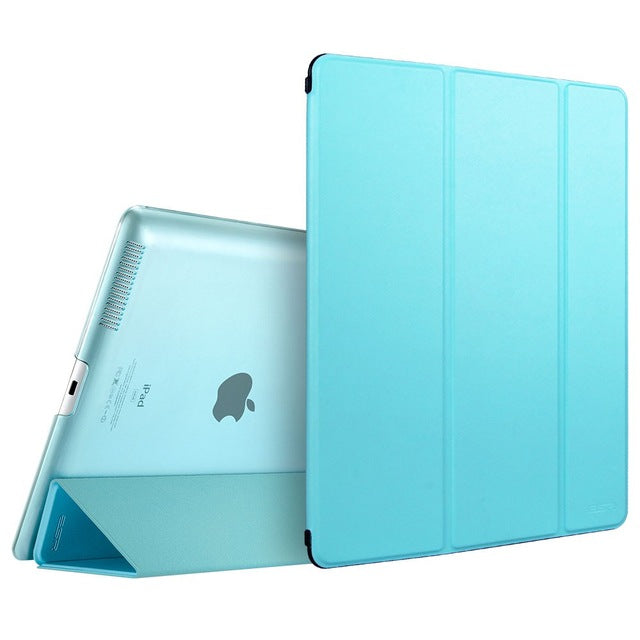 PU Transparent Back Ultra Slim Light Weight Trifold Stand Case for iPad 2/3/4