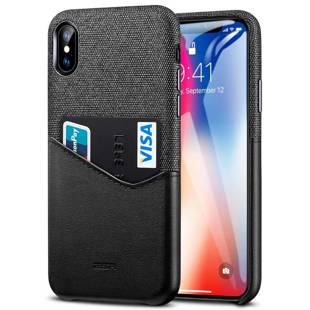 High Grade Leather with Soft Fabric Card Slot Case for iPhone XS Max