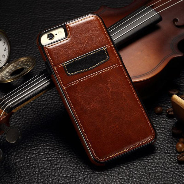Apple iPhone 5, 5S, 6, 6s, 6S plus Classic Leather Case with Card Slot