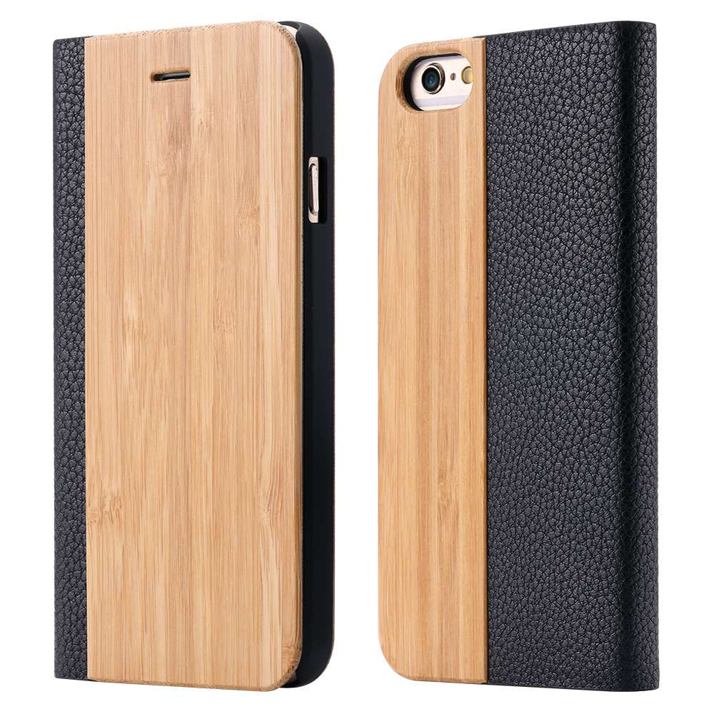 Stylish Natural Wood iPhone 6, 6S Leather Card Holster Case
