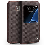 Samsung Galaxy S7, S7 Edge Luxury Genuine Leather Cover with Wake Function