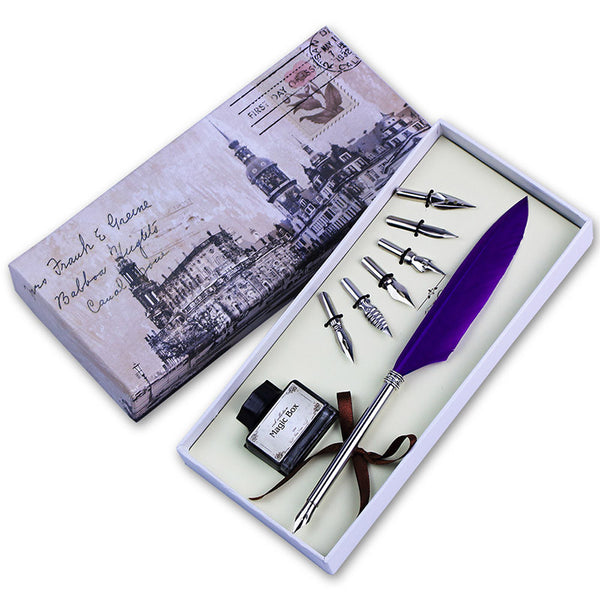 Vintage Style Feather Quill Pen Set