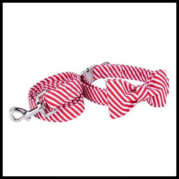 Candy Cane Collar, Bow Tie & Lead Set