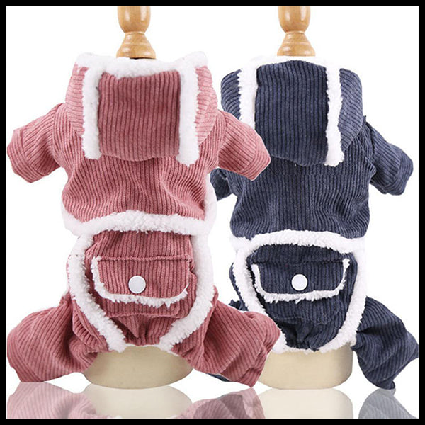 Cordurouy Hooded Dog Jumpsuit