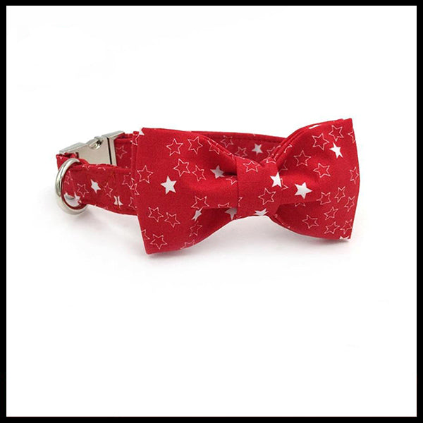 Crimson Stars Collar, Bow Tie & Lead Set