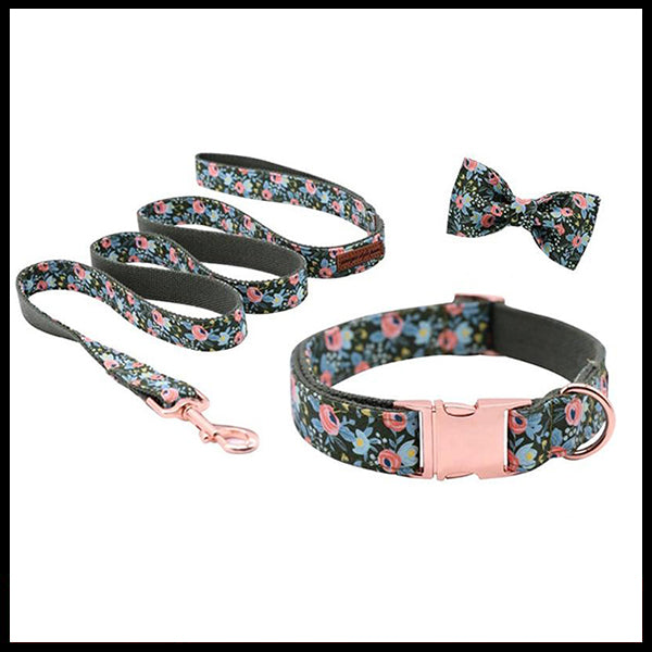 Dark Gardens Collar, Bow Tie & Lead Set