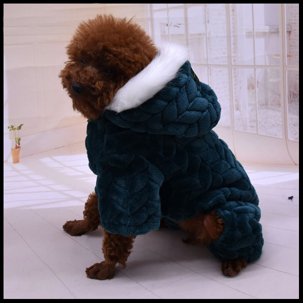 Fluffy Hooded Dog Romper
